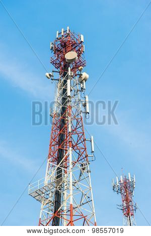 Mobile Tower Antennas With Blue Sky Background