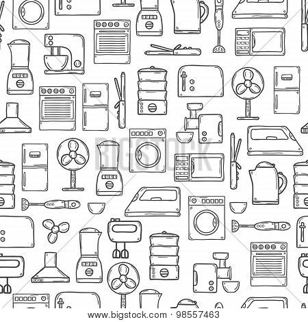 Seamless background with objects in hand drawn cartoon outline style on home appliance theme: fridge
