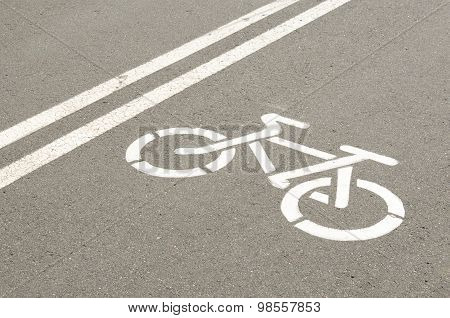 Bike Symbol On Asphalt