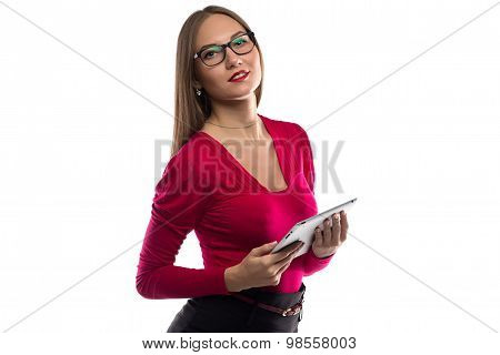 Photo of woman in red shirt with tablet