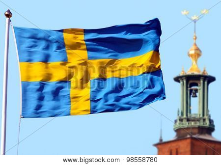 Stockholm city and the Swedish flag