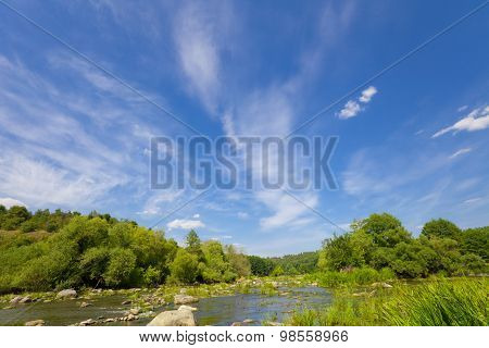 Blue Sky With Clouds Over River