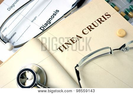 Word Tinea cruris  on a paper and pills.
