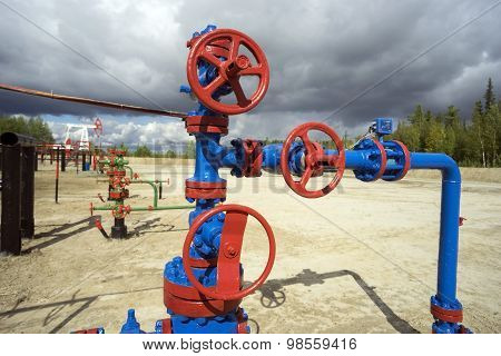 Oil valves on the well.
