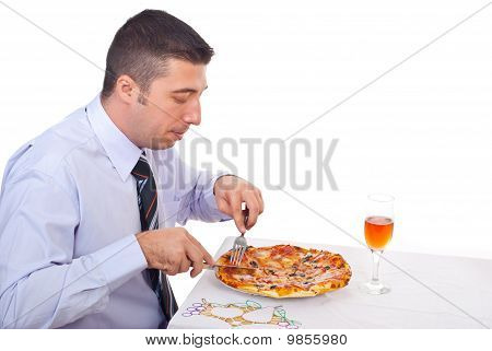 Business Man Eating Pizza