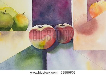 Original watercolor, still life, apple design.