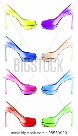 Different Colored Shoes  Isolated On White Background