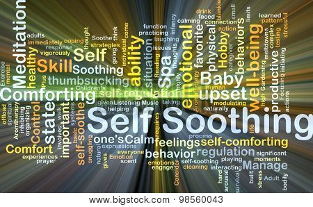 Background concept wordcloud illustration of self-soothing glowing light