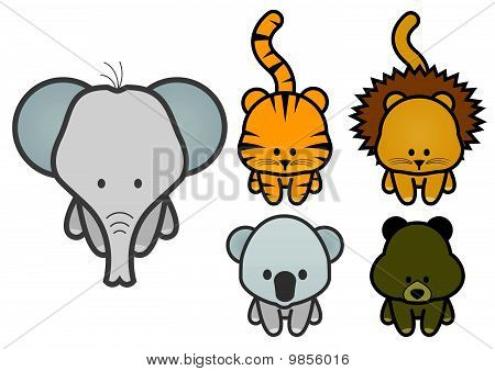 Vector illustration set of cartoon wild or zoo animals.
