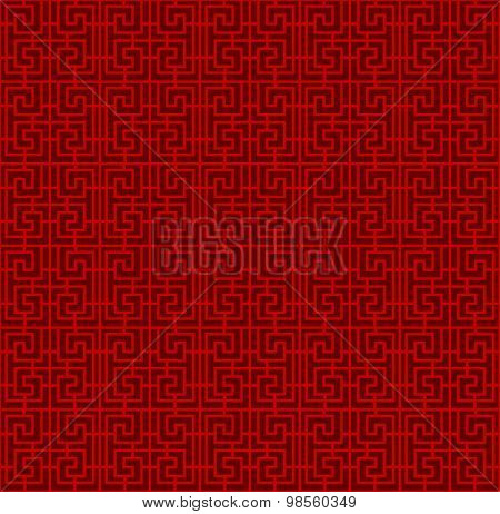 Seamless Chinese window tracery spiral square geometry line pattern.