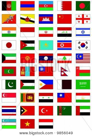 Vector flag set of all Asian countries.