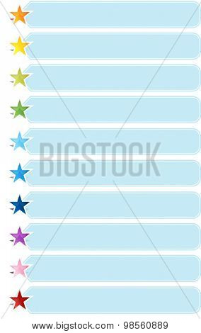 Blank business strategy concept infographic diagram illustration Star List Ten