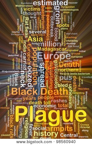 Background concept wordcloud illustration of plague glowing light