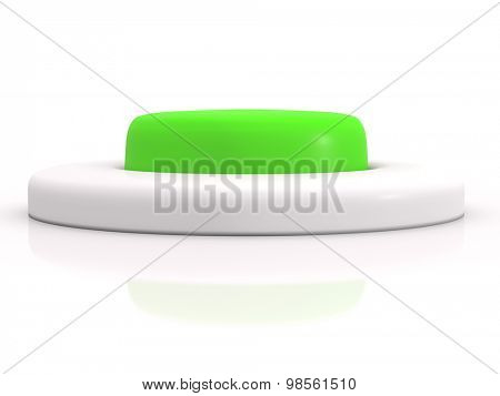 round green button isolated on white background. 3D icon