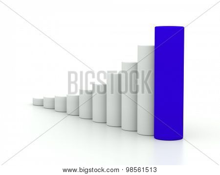 chart success of the cylinders on a white background with blue leader. 3d