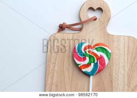 Candy Valentines Hearts On Wood Background