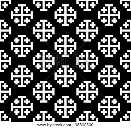 Monochrome cross seamless pattern.