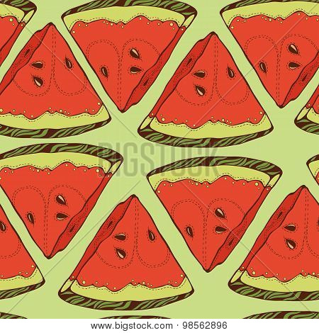 pattern of close-look of slices of watermelon