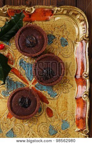 Chocolate Cherry Mini Tartlets on vintage wooden tray