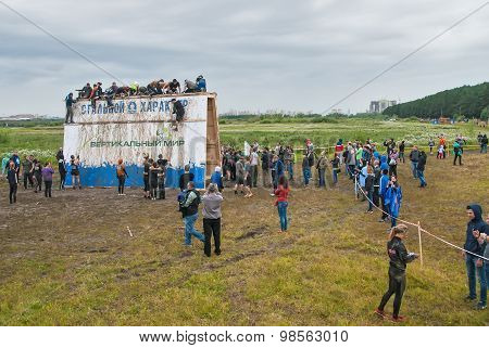 Teams storm big wall in extrim race. Tyumen.Russia