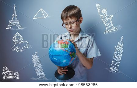 Teenage boy looking at the ground around the globe infographics