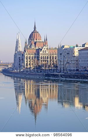 View On The Hungarian Parliament Building, Budapest, Hungary