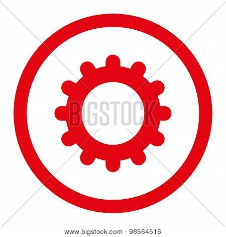 Gear flat red color rounded raster icon