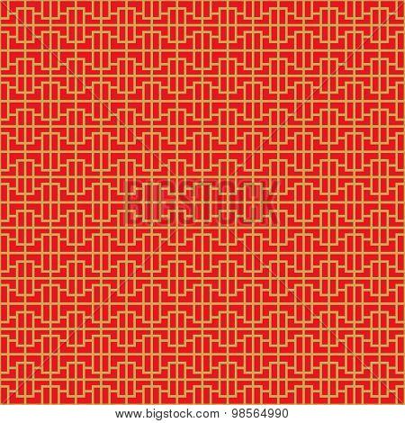 Golden seamless Chinese window tracery geometry pattern background.