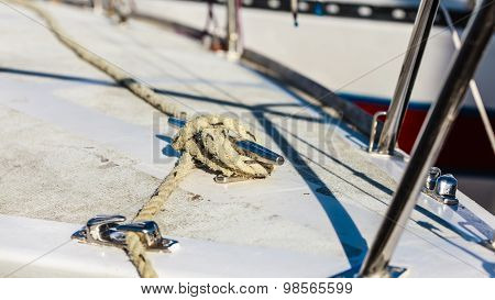 Yachting. Block With Rope. Detail Of Sailing Boat