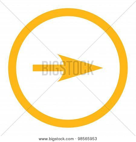 Arrow Axis X flat yellow color rounded raster icon