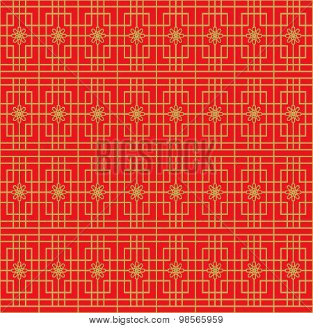 Golden seamless Chinese window tracery square flower pattern background.