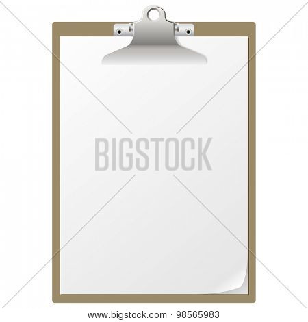 Blank paper on clipboard isolated on white background.