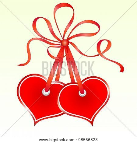 Two tied heart shaped tags.
