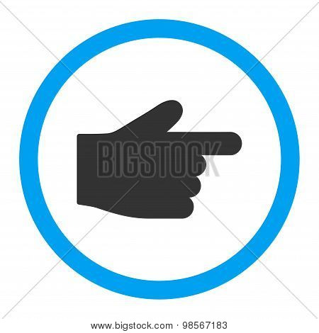 Index Finger flat blue and gray colors rounded vector icon