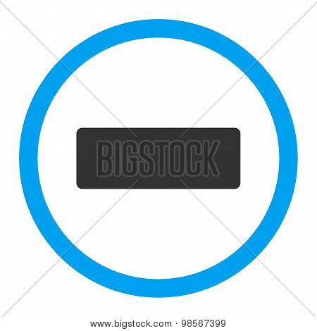 Minus flat blue and gray colors rounded vector icon