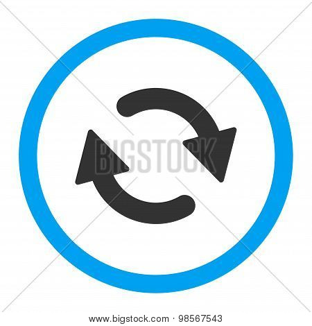 Refresh flat blue and gray colors rounded vector icon