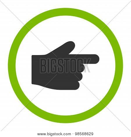 Index Finger flat eco green and gray colors rounded vector icon