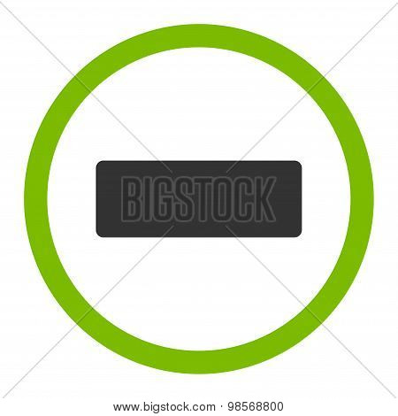 Minus flat eco green and gray colors rounded vector icon