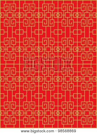 Golden seamless Chinese window tracery square diamond pattern background.