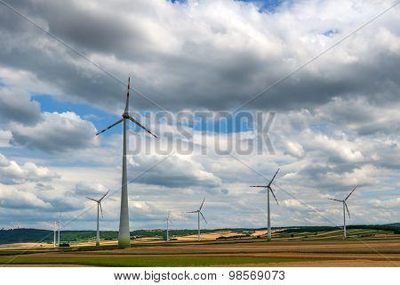 wind turbine on sky background