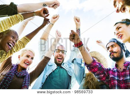 Diverse Group People Arms Raised Concept