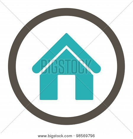 Home flat grey and cyan colors rounded vector icon