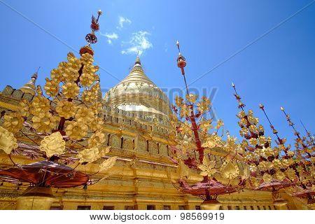 Scenic View Of Golden Shwezigon Pagoda, Bagan, Myanmar