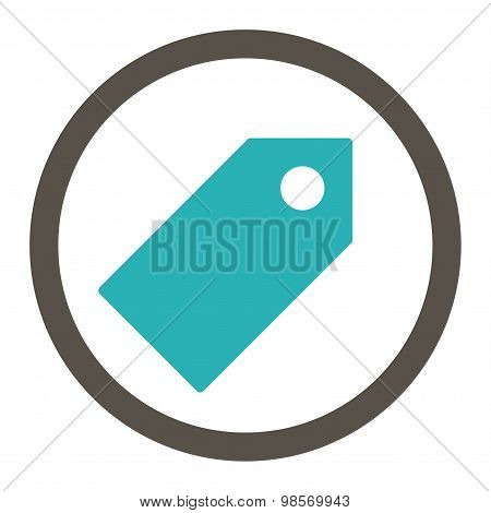 Tag flat grey and cyan colors rounded vector icon