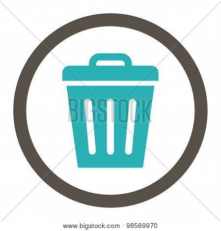 Trash Can flat grey and cyan colors rounded vector icon