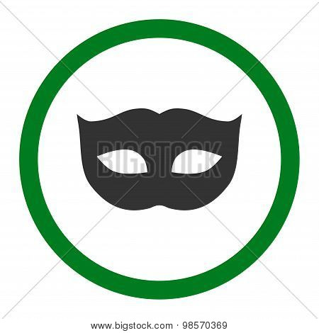 Privacy Mask flat green and gray colors rounded vector icon