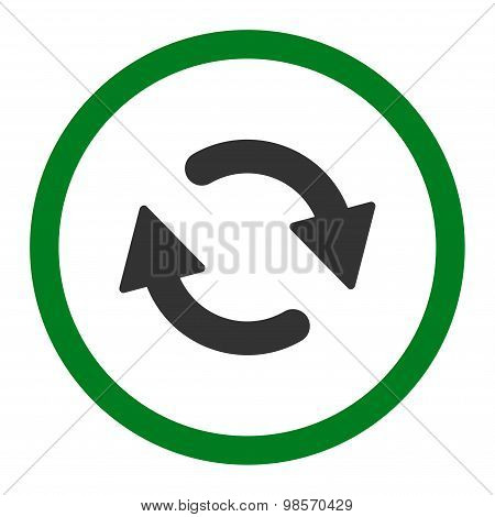 Refresh flat green and gray colors rounded vector icon
