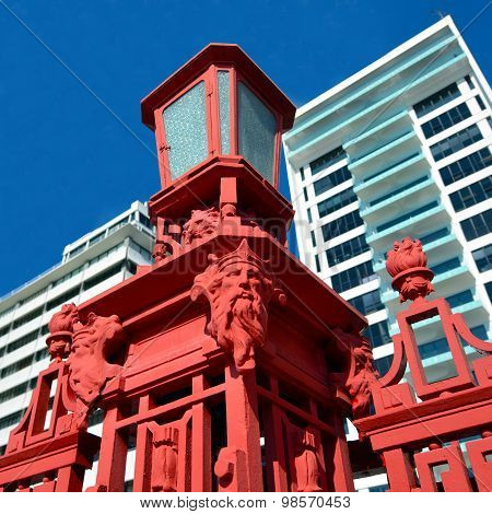 Details Of The Red Fence Of Captain Cook Wharf In Auckland, New Zealand