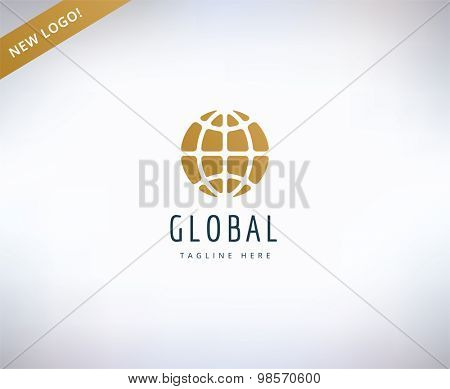 Earth map logo icon. Globe, travel or nature and business. Stock design element.