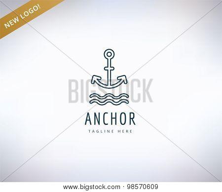 Anchor logo icon. Sea, vintage or sailor and sea symbol. Stocks design element